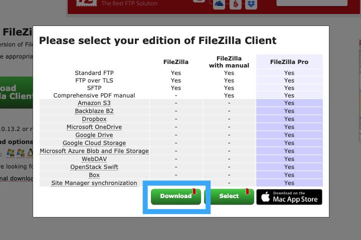 FileZilla のダウンロード画面