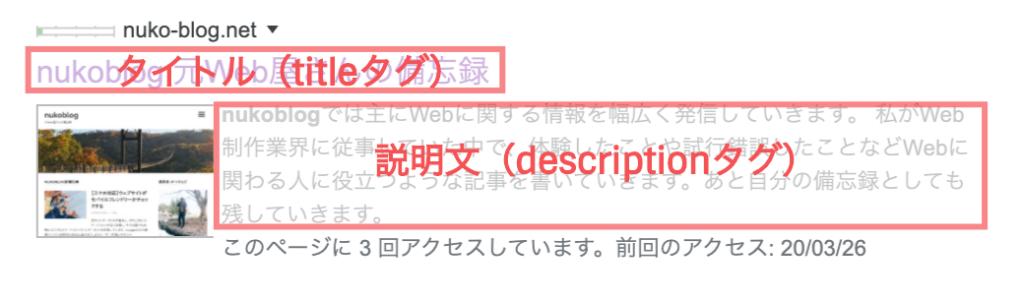 検索結果ページのホームタイトル(titleタグ)とホームのディスクリプション(descriptionタグ)