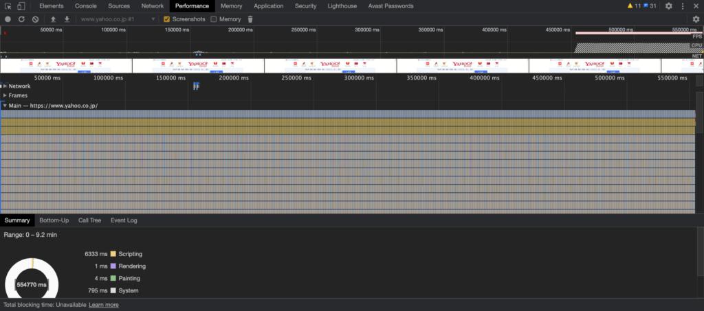 Chromeの検証機能のPerformanceタブ