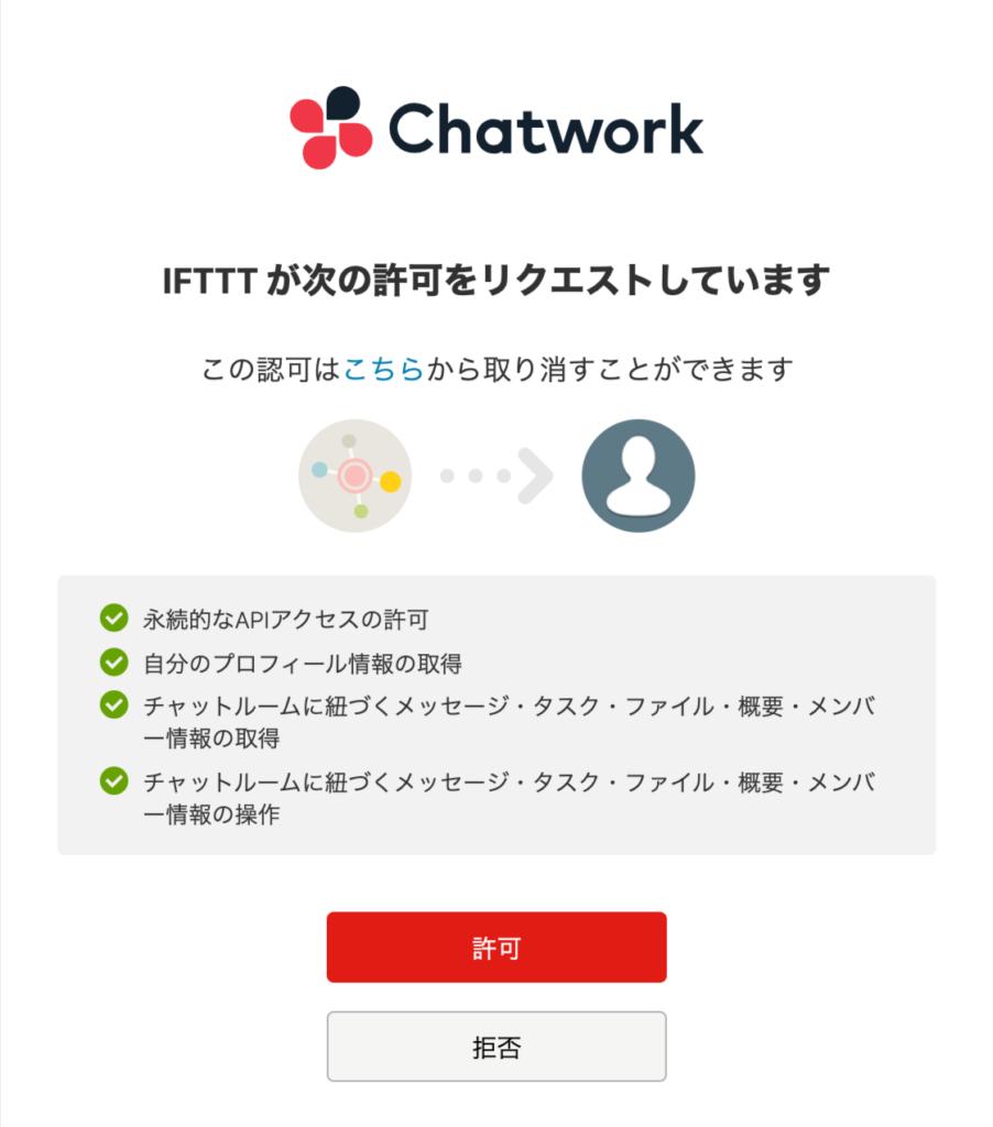 Chatwork認証画面