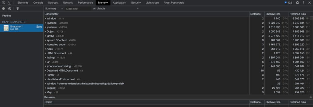 Chromeの検証機能のMemoryタブ