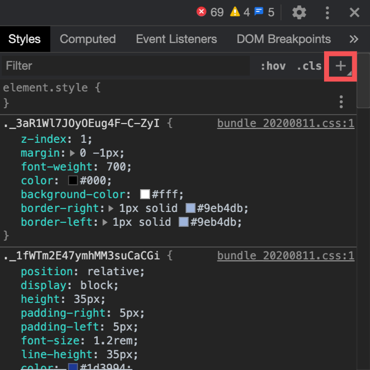 ChromeデベロッパーツールのStyles