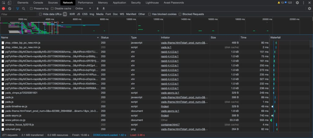Chromeの検証機能のNetworkタブ